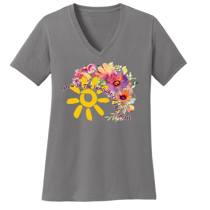 Grow in the Sunlight V Neck Tee (Gray)