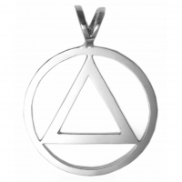 Large Smooth Clean Circle Triangle Pendant Sterling Silver
