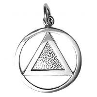 Textured Circle Triangle Pendant Sterling Silver