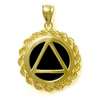 14k Gold Medium AA Symbol in Rope Style Circle with Black Onyx