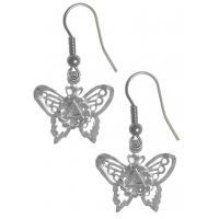 Sterling Silver Earrings, AA Symbol on a Small Butterfly