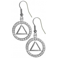 Sterling Silver Earrings, AA Symbol in a Circle of 26 CZ's