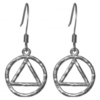 Sterling Silver, AA Symbol Hammered Style Earrings