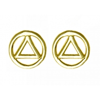 Small 14k Gold AA Symbol Stud Earrings