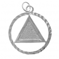 Diamond Cut Circle & Textured Triangle - Large Pendant