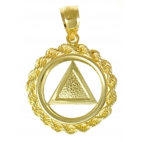 14k Gold AA Symbol Pendant, Solid Textured Triangle Rope Circle