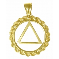 14k Gold AA Symbol Pendant, Rope Style Circle, Medium Size