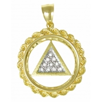 14k Gold AA Symbol Pendant Rope Circle with Paved Diamonds