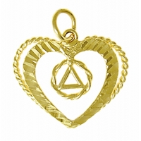 14k Gold Pendant, AA Symbol in a Small Wire Open Heart