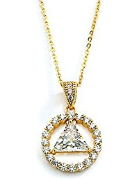 AA Recovery Symbol Cubic Zirconia Necklace Gold