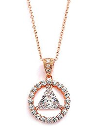 AA Recovery Symbol Cubic Zirconia Necklace Rose Gold