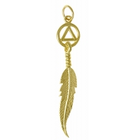 14k Gold Pendant, AA Circle Triangle with a Single Feather