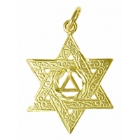 14k Gold Pendant, AA Symbol in a Jewish Star of David, Med.