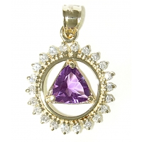 14k Gold AA Symbol Pendant, Diamond Encircled with Amethyst