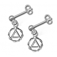 SS Stud Dangle Earrings, AA Symbol in a small Twist