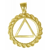 14k Gold Medium Pendant, AA Symbol in a Rope Style Circle