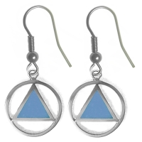 Sterling Silver, AA Symbol Earrings with Blue Enamel Inlay