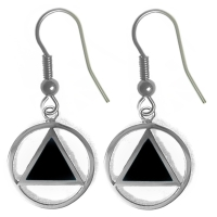 Sterling Silver, AA Symbol Earrings with Black Enamel Inlay