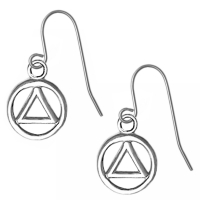 Sterling Silver Earrings, AA Small Circle Triangle