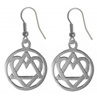 Sterling Silver, AA Symbol Earrings with a Open Heart