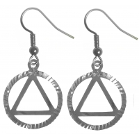Sterling Silver Earrings, AA Symbol in a Diamond Cut Circle
