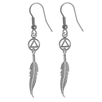Sterling Silver Earrings, AA Circle Triangle with a Feather