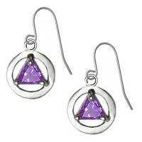 Sterling Silver, AA Symbol Earrings with Birthstone