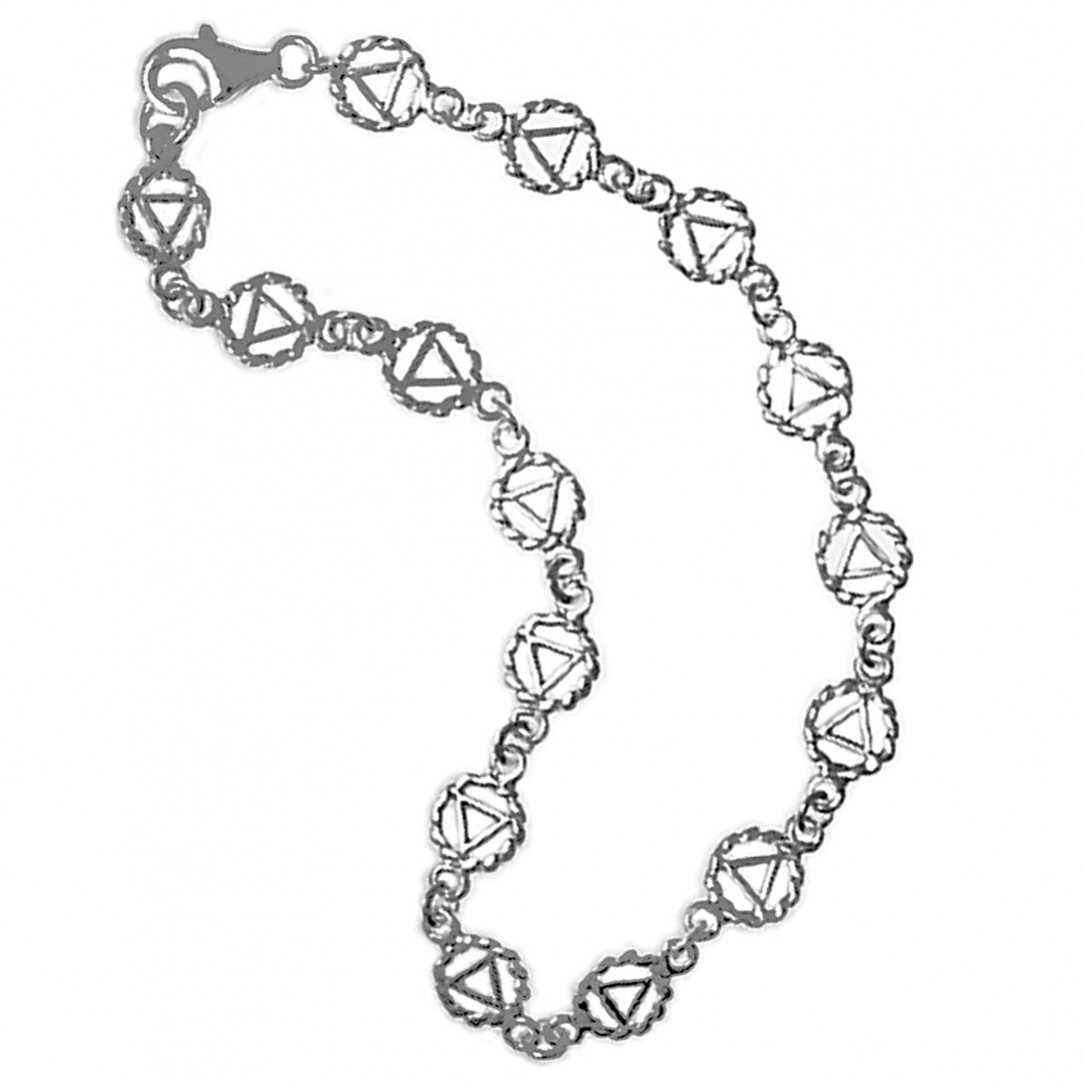 SS Continuous Twist Wire Style AA Symbol Bracelet 8""
