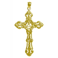 14k Gold Pendant, AA Recovery Symbol on a Beautiful Cross