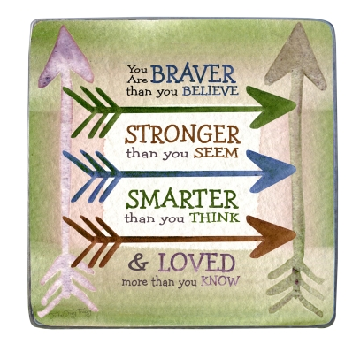 Braver - Stronger - Smarter Painted Pewter Plaque