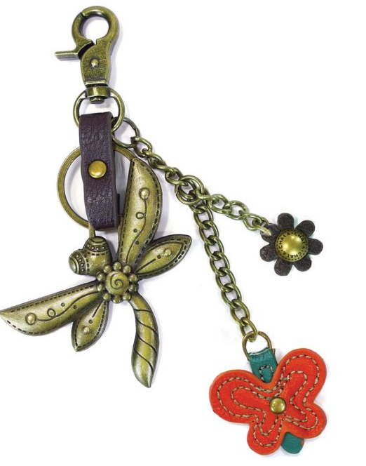 Dragonfly and Butterfly Keyring
