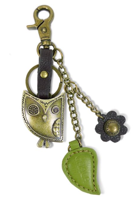 Owl and Leaf Keyring