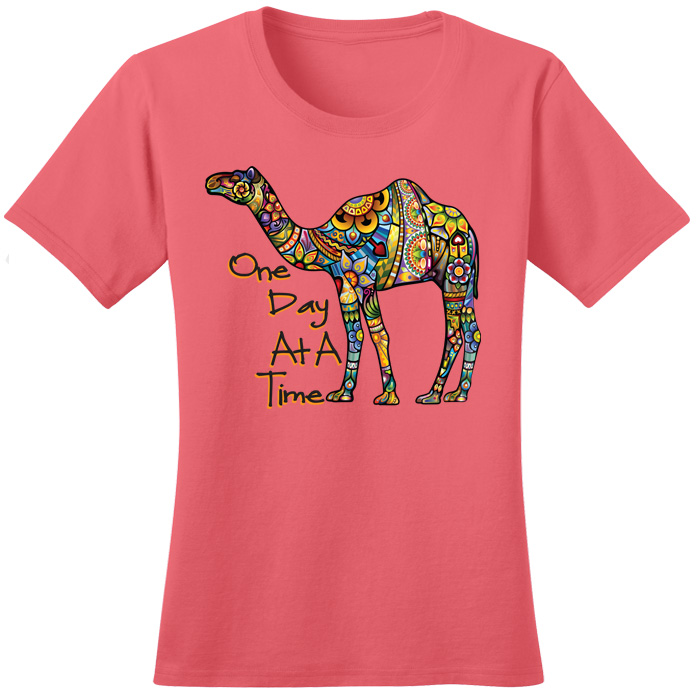 One Day At A Time Camel Tee (Coral)