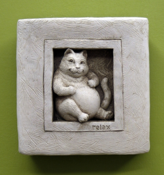 Purrfectly Relaxed Stone Cat Wall Art