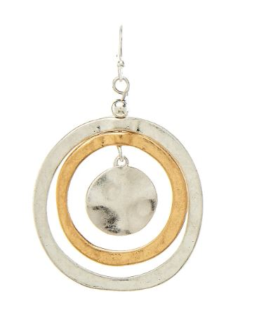 Silver and Gold Concentric Circle Earrings