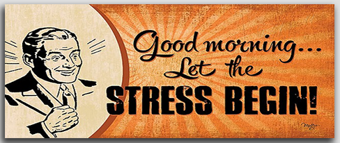 Good Morning Let the Stress Begin Wooden Plaque