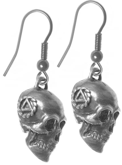 Sterling Silver Earrings, 3d Skull with AA Symbol on Both Sides