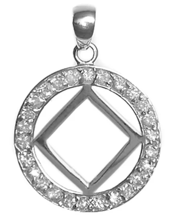 Sterling Silver Pendant, NA Symbol in a Circle of 26 CZ's