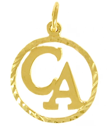 "Cocaine Anonymous Pendant, 14k Gold, ""CA"" Initials"