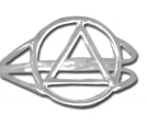 Sterling Silver AA Symbol Ring, Open Design