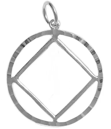 Sterling Silver Pendant, NA Symbol in a Diamond Cut Circle, Lg.