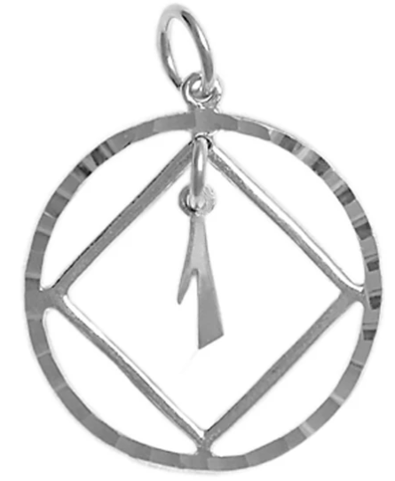 Sterling Pendant, NA Symbol in a Diamond Cut Circle, YR. 1-25