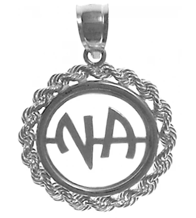 Sterling Silver Pendant, NA Initials in a Rope Style Circle