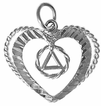 Sterling Silver Pendant, AA Symbol in a Small Open Heart