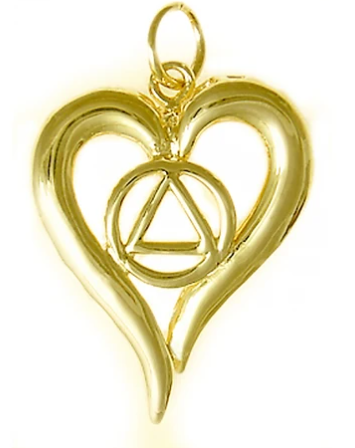 14k Gold Pendant, AA Symbol in a Open Heart, Medium Size