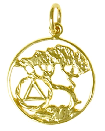 14k Gold Pendant, AA Recovery Symbol with a Tree of Life