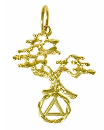 14k Gold Pendant, AA Recovery Symbol with a Tree of Life 2