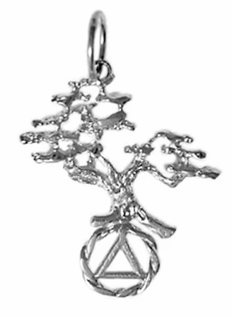 Sterling Silver Pendant, AA Recovery Symbol with Tree of Life 2