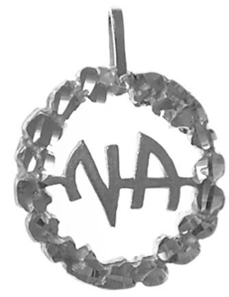 Medium Size, Sterling Silver Pendant, NA Initials, Nugget Style