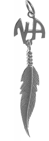 Sterling Silver Pendant, NA Initials with a Single Feather